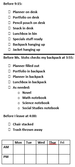 Unpack and Pack Up Checklist